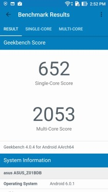 Asus Zenfone 3 Laser GeekBench Score