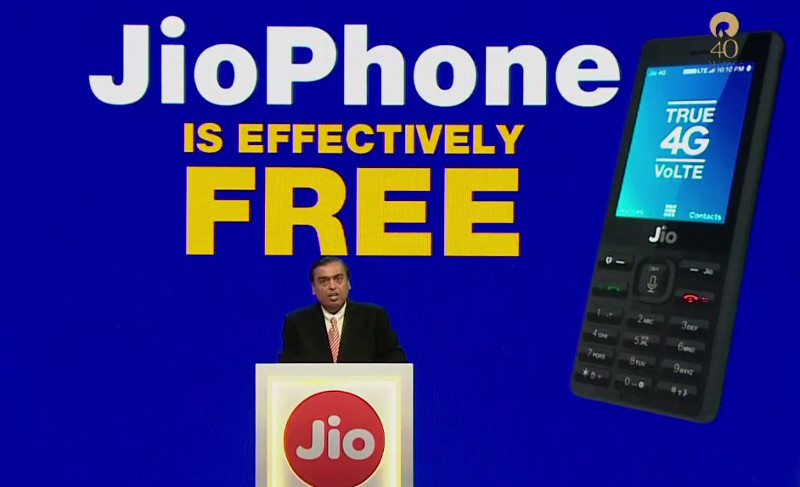 Ambani in Jio phone AGM