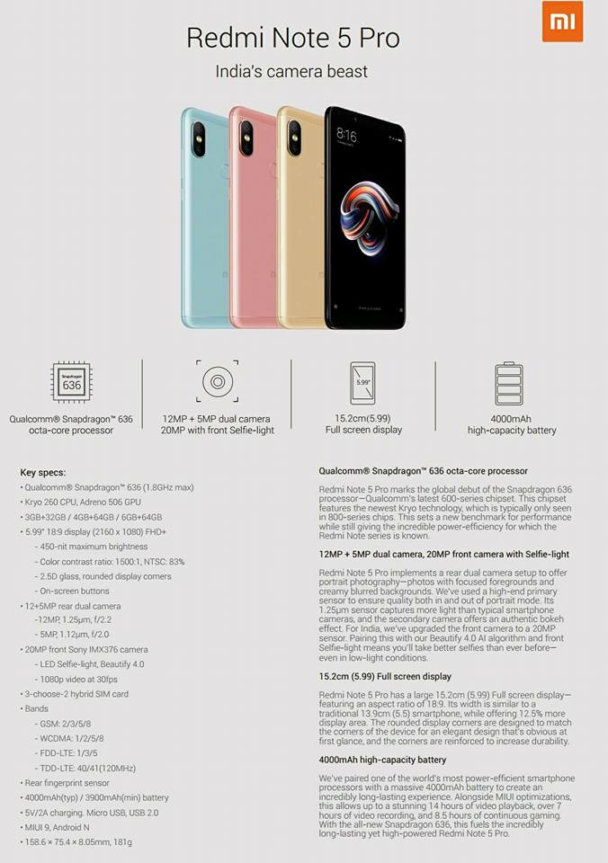 Xiaomi Redmi Note 5 Pro Specification