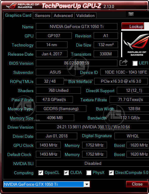 GPU-Z NVidia GTX 1050TI in Asus ROG FX504