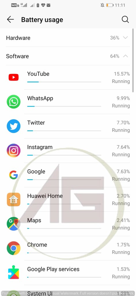 Honor 10 Lite screen on time and apps used during it.