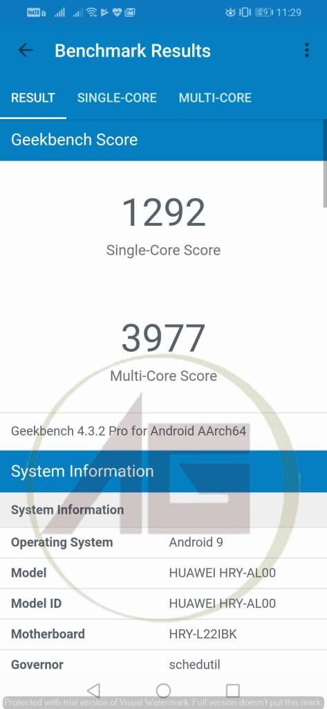 Geekbench score Honor 10 Lite