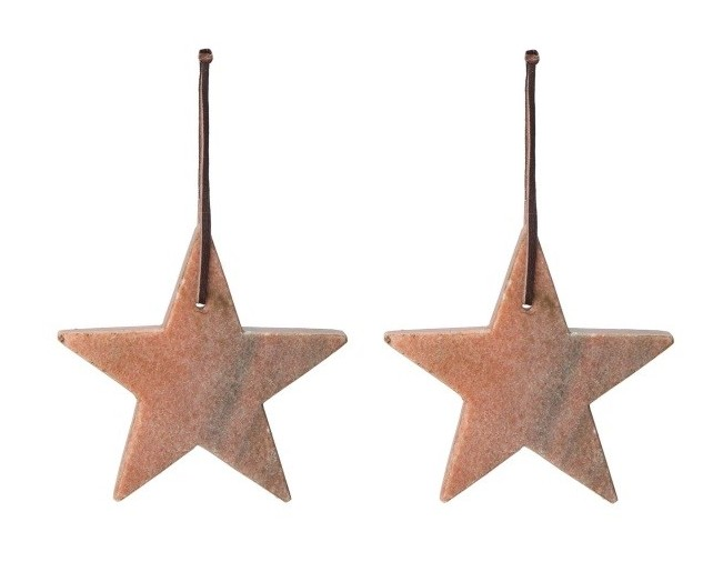 Set of 2 Light Pink 100% Marble Star baubles. £14.00 URBANARA