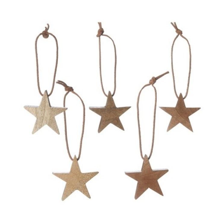 Warm Brown, set of five Mango wood KRABU Christmas star baubles £16.00 URBANARA