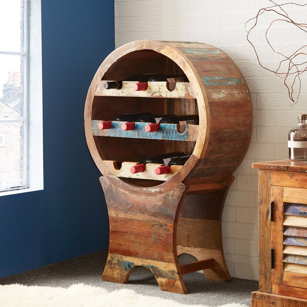 Ok I know, this isn't strictly an oak drinks cabinet, but if you are looking for a feature wire rack made from solid reclaimed wood, then this has be a definite contender.
