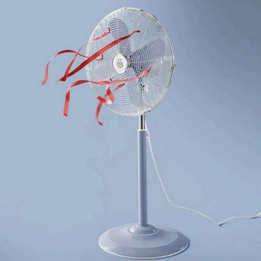 Swan Retro 16 Inch Oscillating Stand Fan, Blue