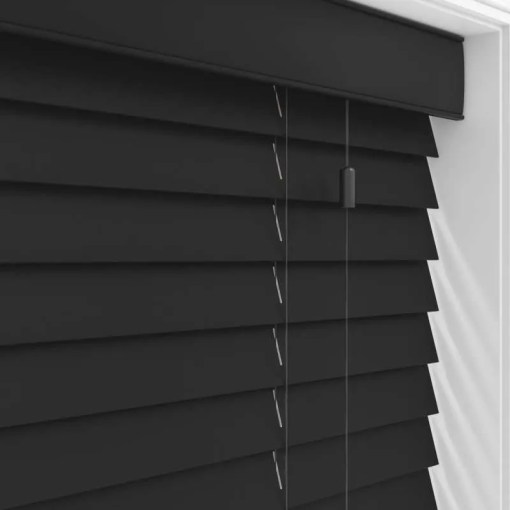 Carbon Black Real Wood Roman Blind, Made to Measure
