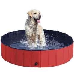 PawHut Foldable Pet Swimming Pool, Red - 140 x 30cm