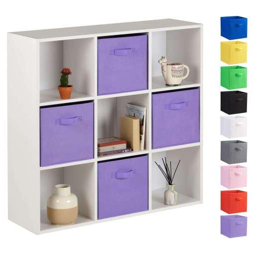 Hartleys 9 White Cube Storage Unit & 4 Light Purple Cube Drawers