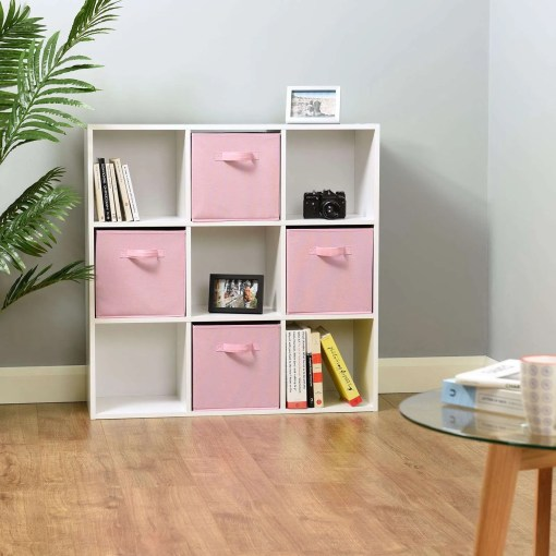 Hartleys 9 White Cube Storage Unit & 4 Pink Cube Drawers