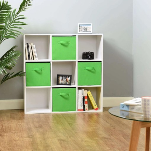 Hartleys 9 White Cube Storage Unit & 4 Green Cube Drawers