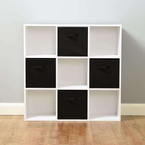 Hartleys 9 White Cube Storage Unit & 4 Black Cube Drawers