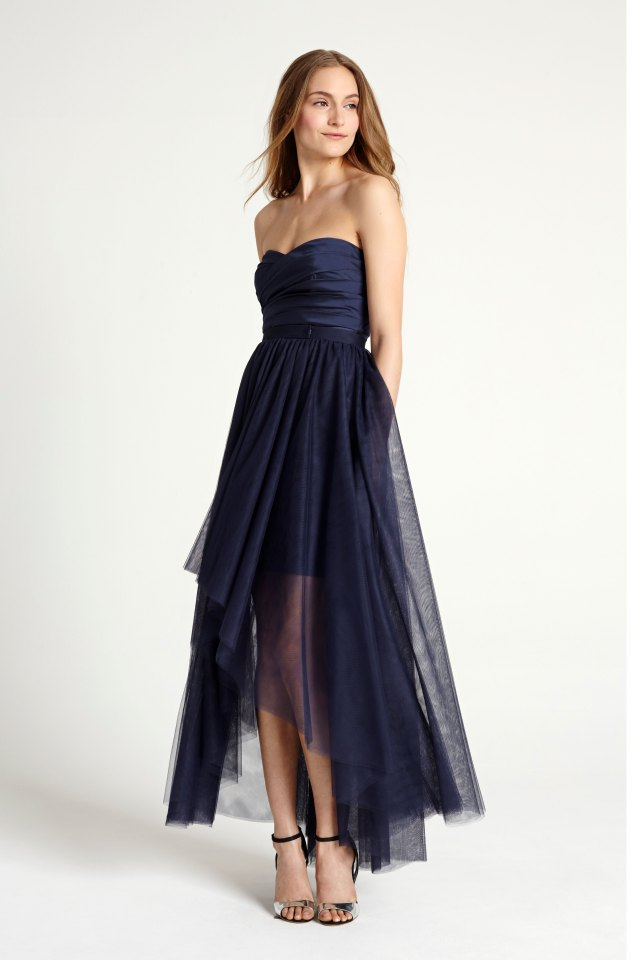 Blue note: A sassy deep blue strapless mini with overskirt by Monique Lhuillier