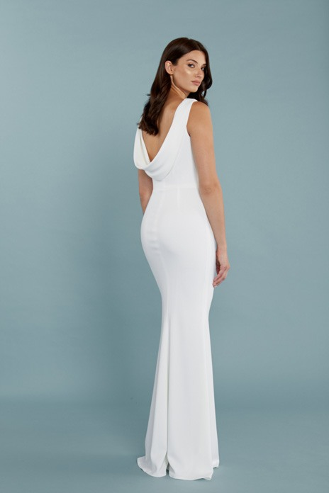 46dae5019e LA-based designer Katie May has won a huge fan base for her brilliantly cut backless  gowns for brides and bridesmaids. This devastatingly simple column gown ...