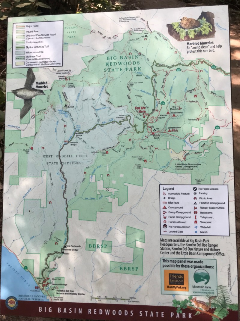 Map of Big Basin Trails