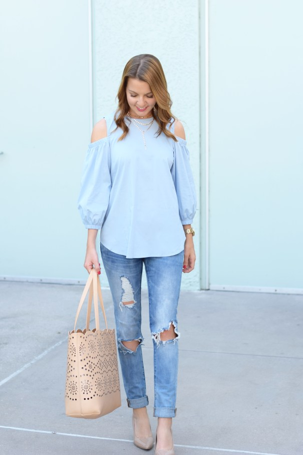 Open Shoulder Top & Ripped Denim by FL fashion blogger Absolutely Annie