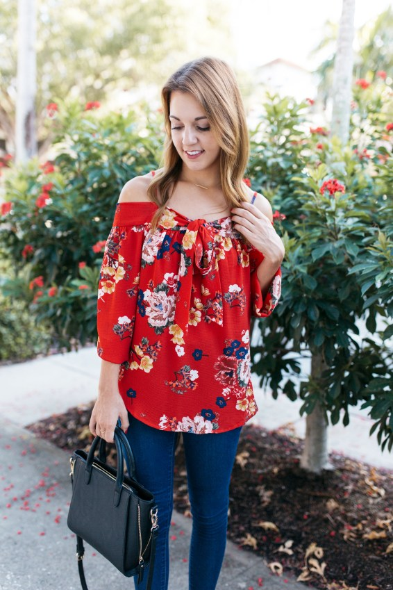 Transitioning to Fall: Open Shoulder Top by FL fashion blogger Absolutely Annie