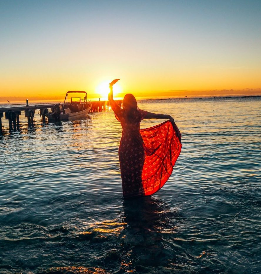 Creative burnout, sunrise in mexico, girl dancing in the water, writer's block