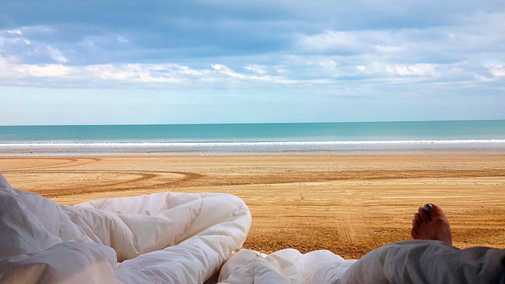Camping at the beach with ocean view, Darwin, Australia