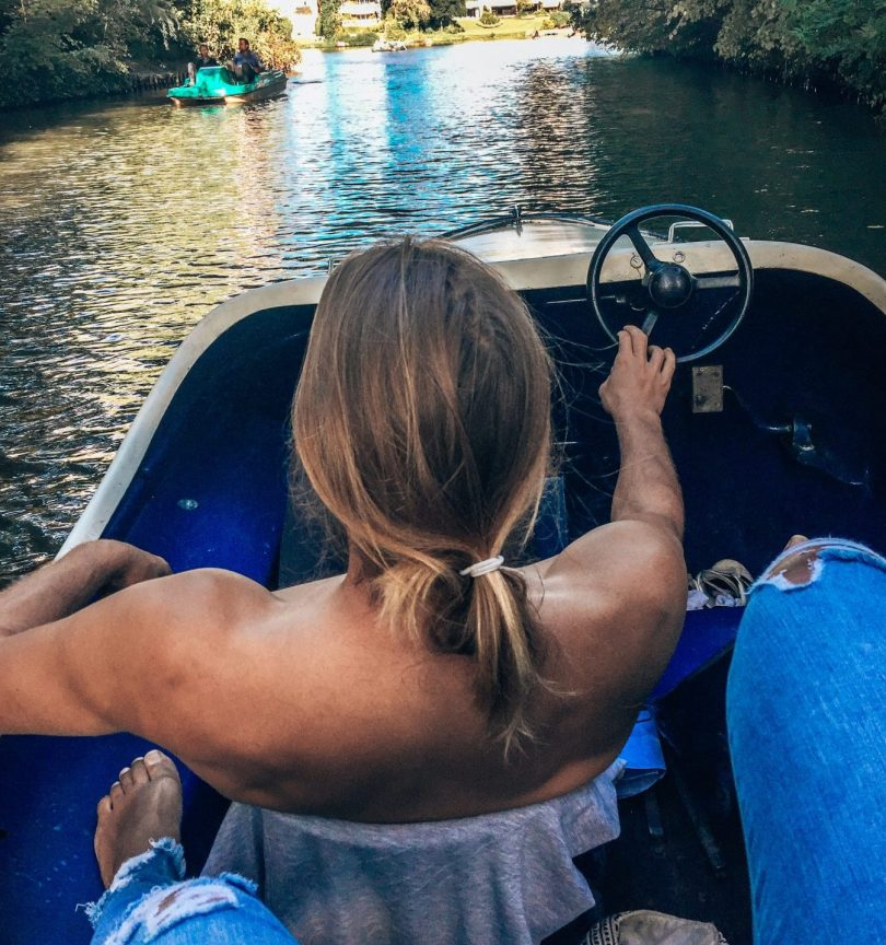 Couple in pedal boat
