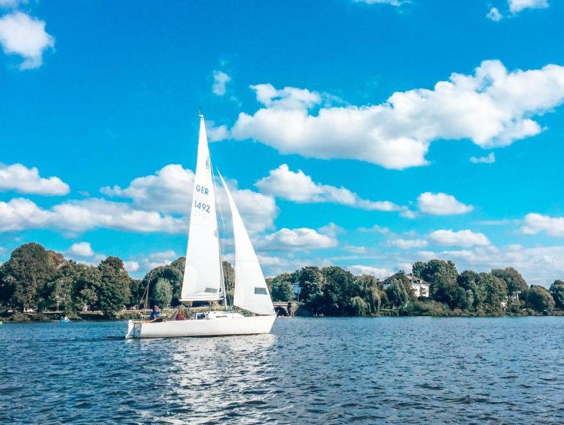 Sailing boat on Alster, Hamburg