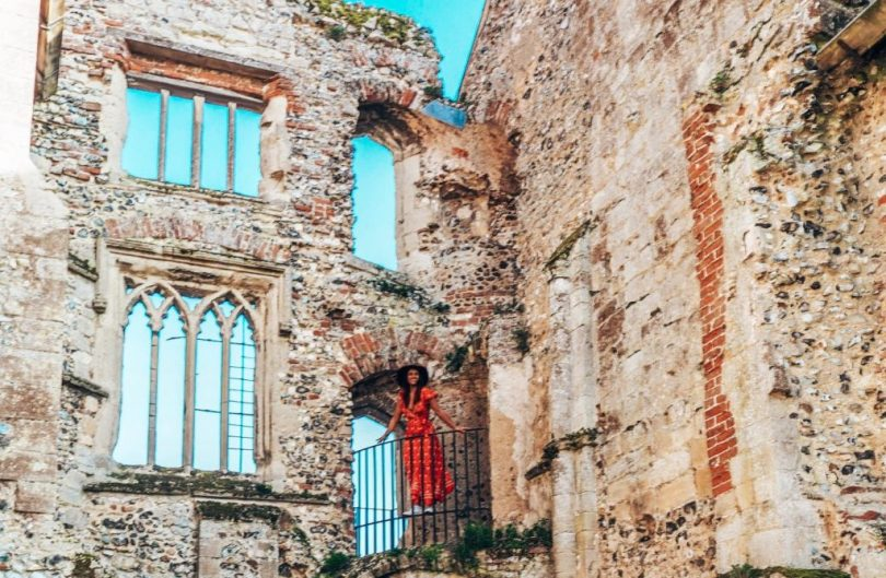Juliet at balcony, Castle Acre Priory, Norfolk, UK