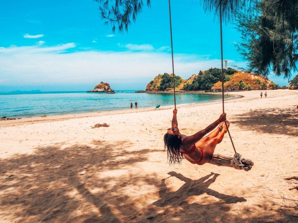 Thailand, beach swing, Koh Lanta beach, Thailand 2019, rope swing thailand, adrenaline rush, adrenlaine pumping, adventure