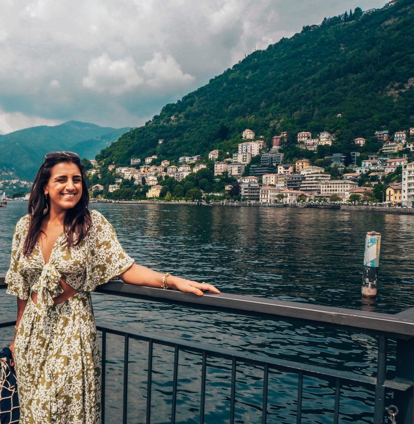 Absolutely Lucy at Como with view over the lake, Italy