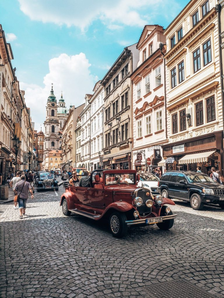 Classic Prague streets and cars
