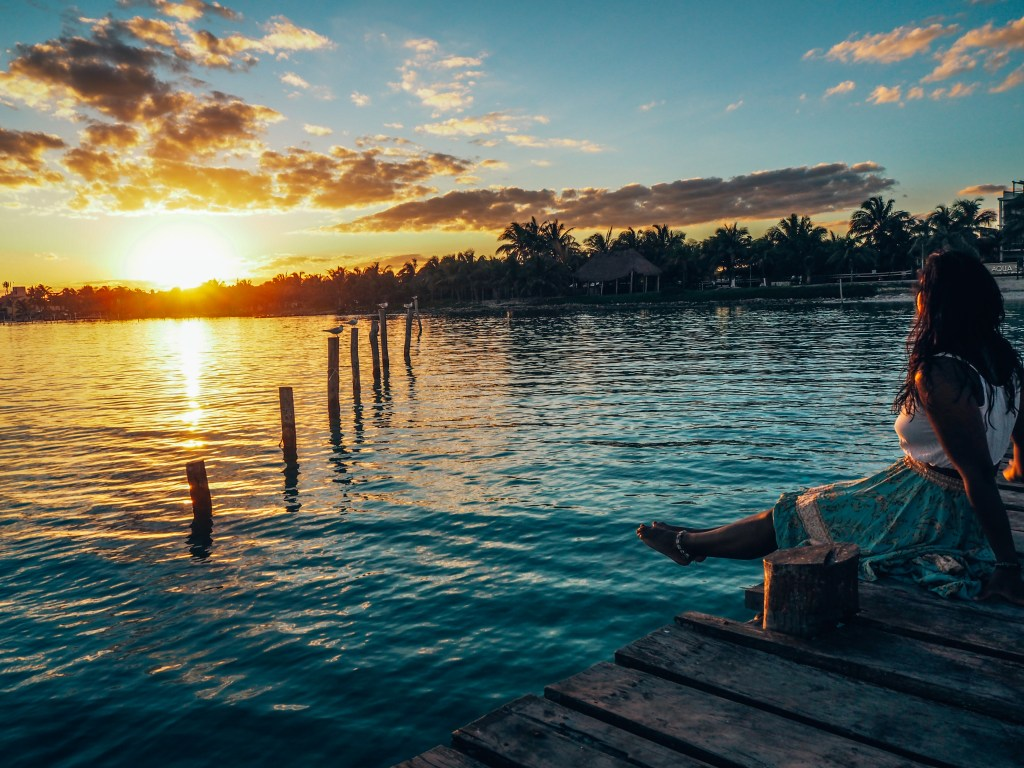 Staying positive, Mahahual sunset mexico