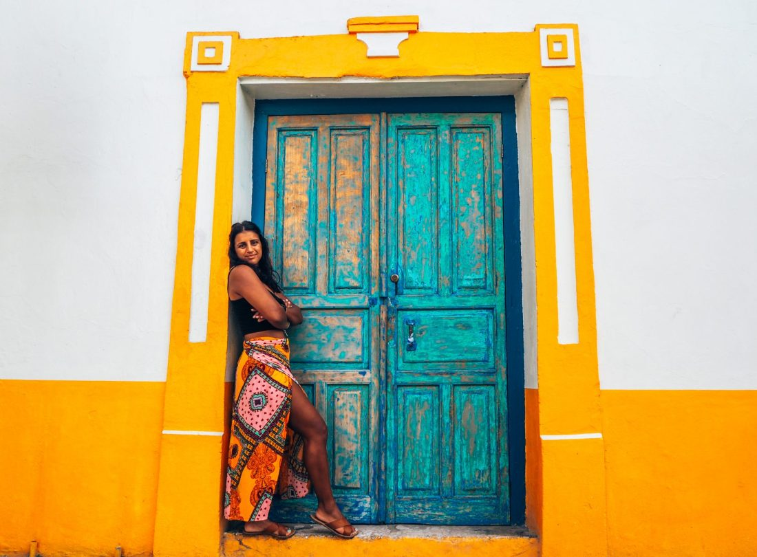 Flores, Guatemala, colourful doorway and Absolutely Lucy