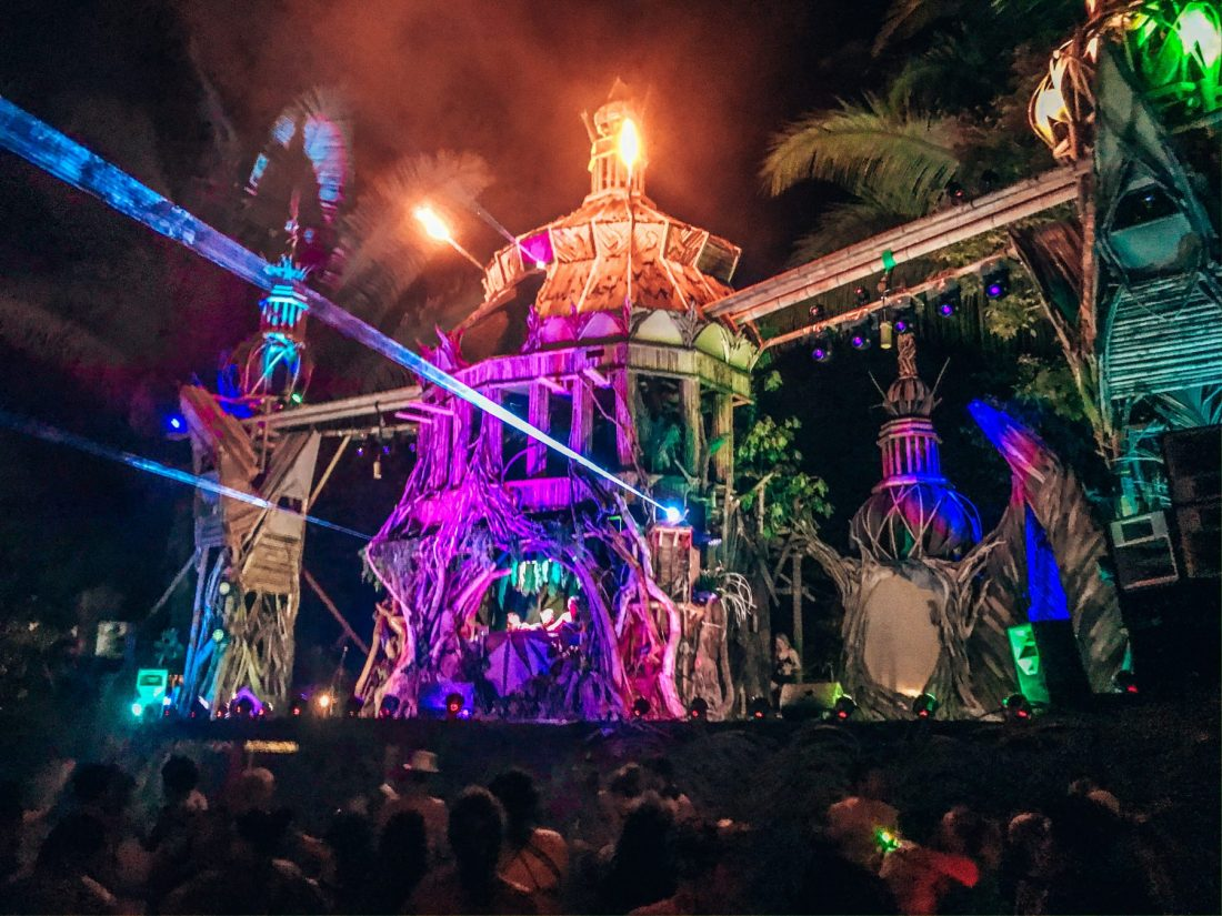 Luna Stage at night with lasers, Envision music festival