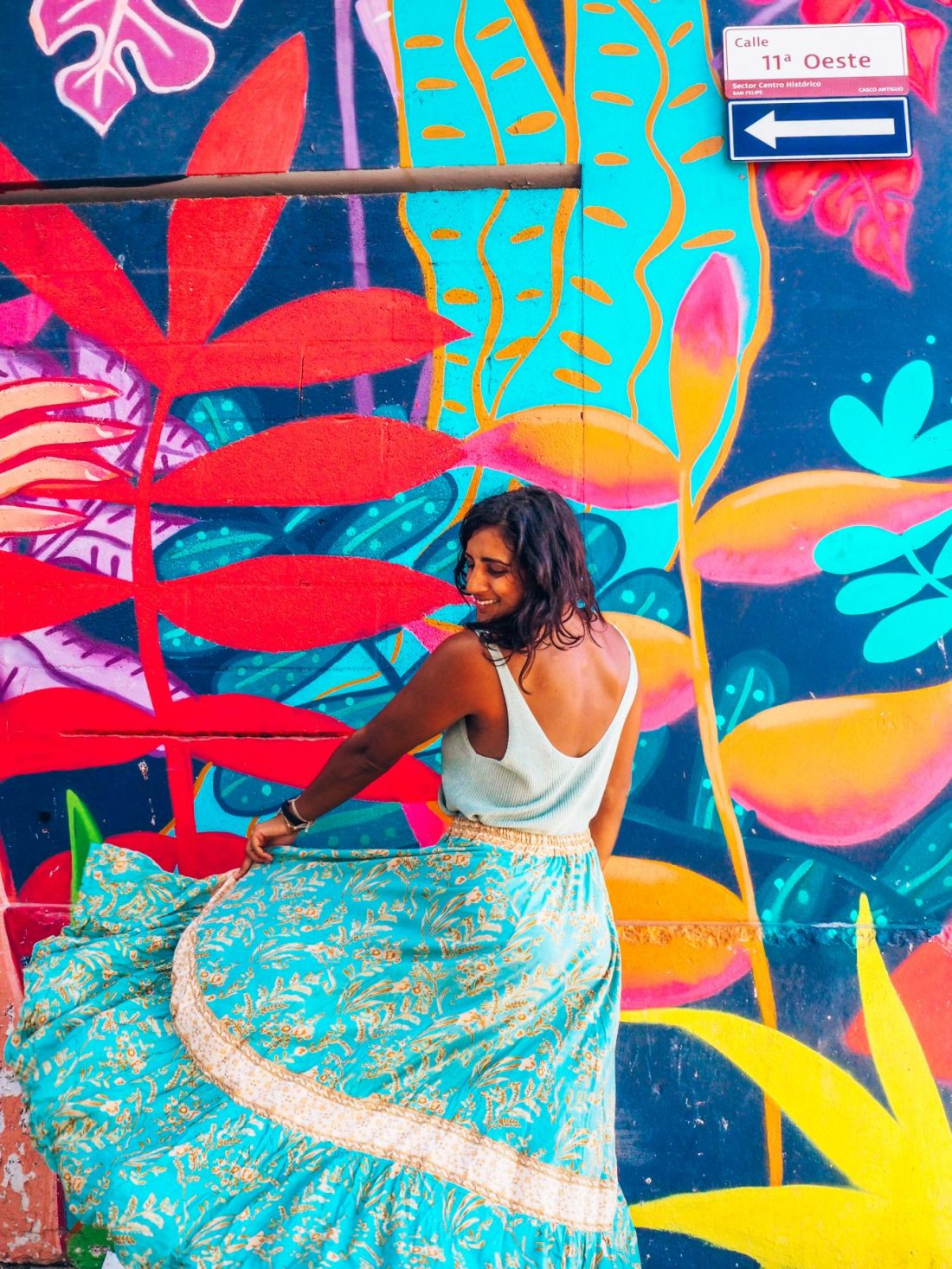Casco Viejo photography, colourful streets of Panama City with girl dancing