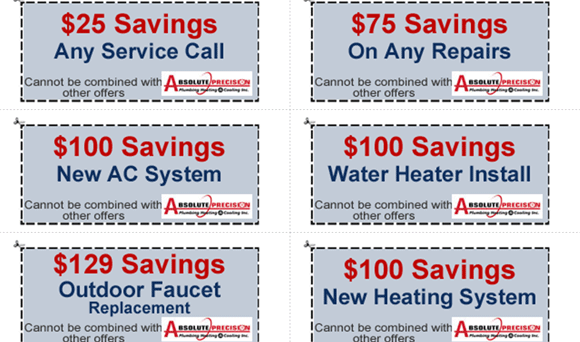 assorted coupons for plumbing, heating, and AC