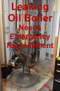 leaking oil boiler needs emergency replacement