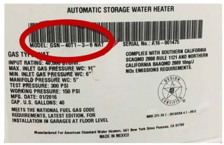 water heater label--model number