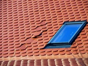 Skylight with leaky roof and shingles