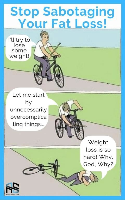this is the picture that shows how people are sabotaging fat loss instead of simply trying to lose weight by walking