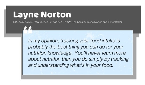 In my opinion, tracking your food intake is probably the best thing you can do for your nutrition knowledge. You'll never learn more about nutrition than you do simply by tracking and understanding what's in your food .Layne Norton on calorie counting.