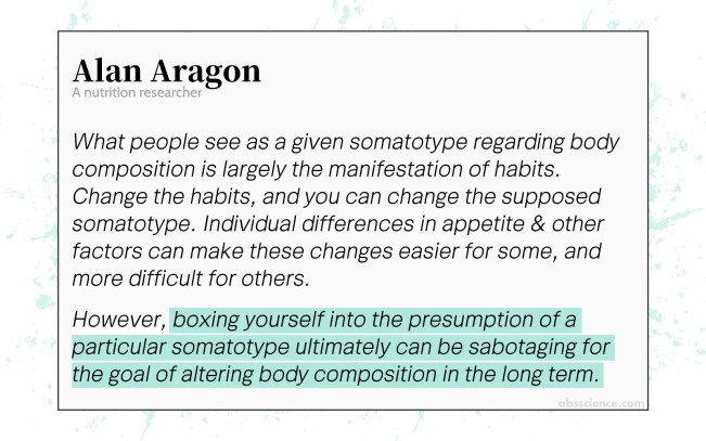 What people see as a given somatotype regarding body composition (proportion of lean mass & fat mass) is largely the manifestation of habits. Change the habits, and you can change the supposed somatotype. Individual differences in appetite & other factors can make these changes easier for some, and more difficult for others. However, boxing yourself into the presumption of a particular somatotype ultimately can be sabotaging for the goal of altering body composition in the long term.