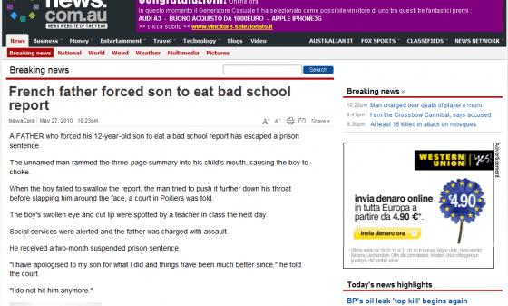 Costringe il figlio ad ingoiare la pagella - news au