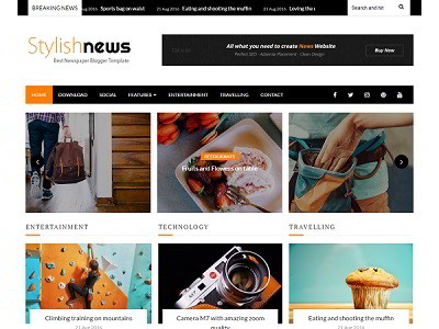 Stylish News Magazine Blogger Template