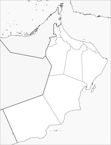 Oman Map خارطة سلطنة عُمان باللون الأبيض والاسود للتلوين