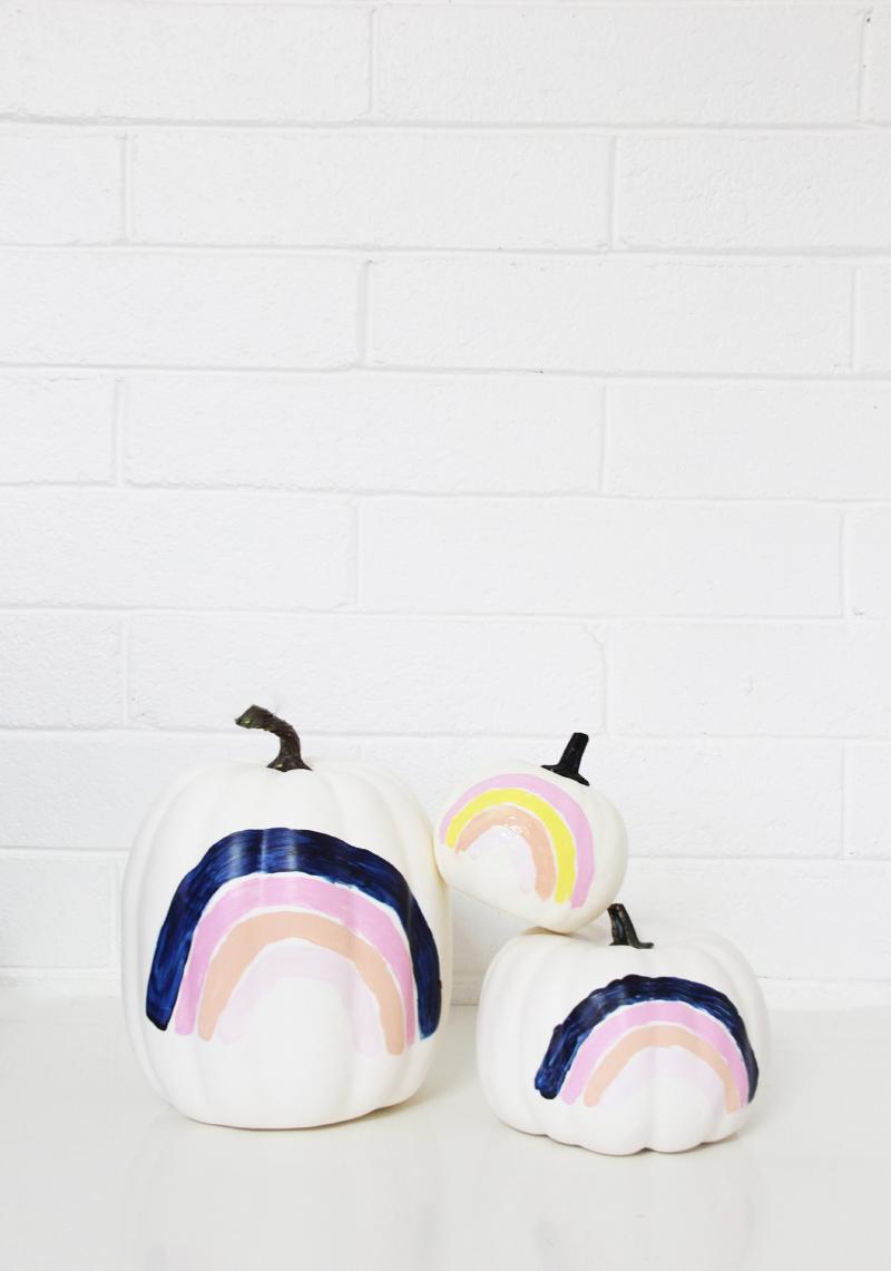 Rainbow Painted Pumpkins Halloween