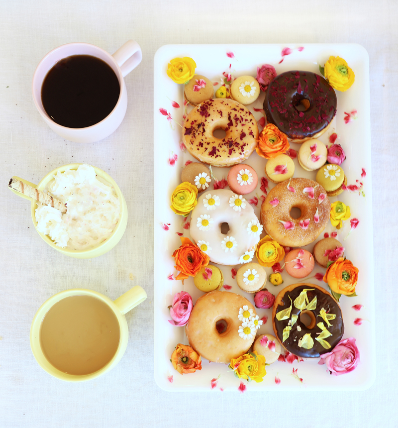 coffee & donuts with floral accents