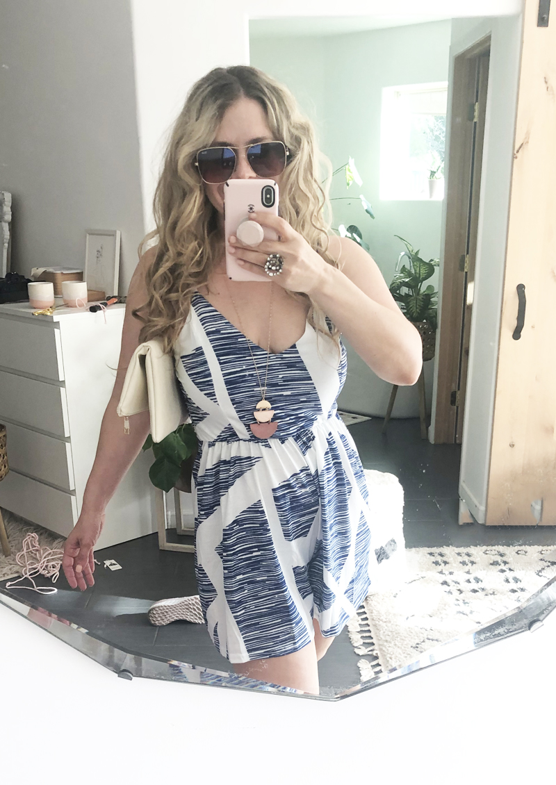 blue and white romper