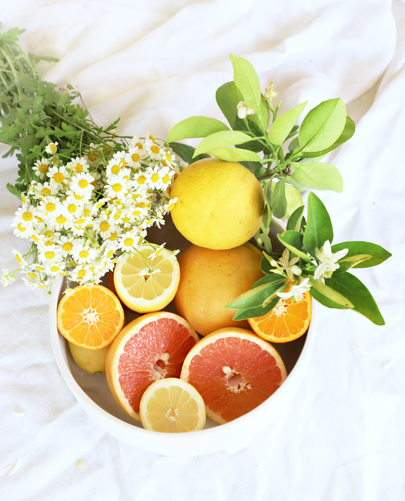 fruit bowl gift with citrus and chamomile