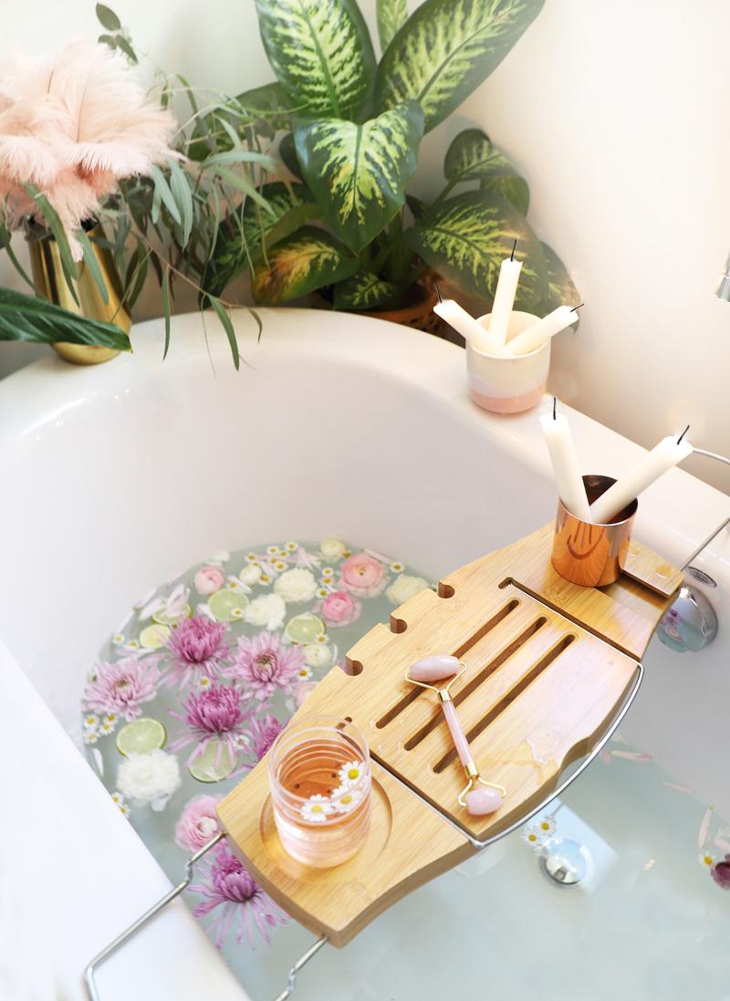 bath soak with flowers