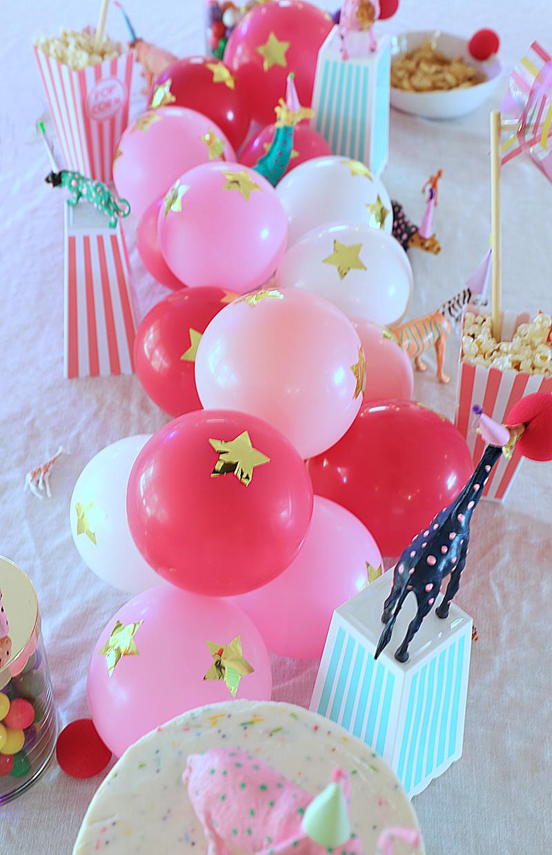 balloon centerpiece circus inspired