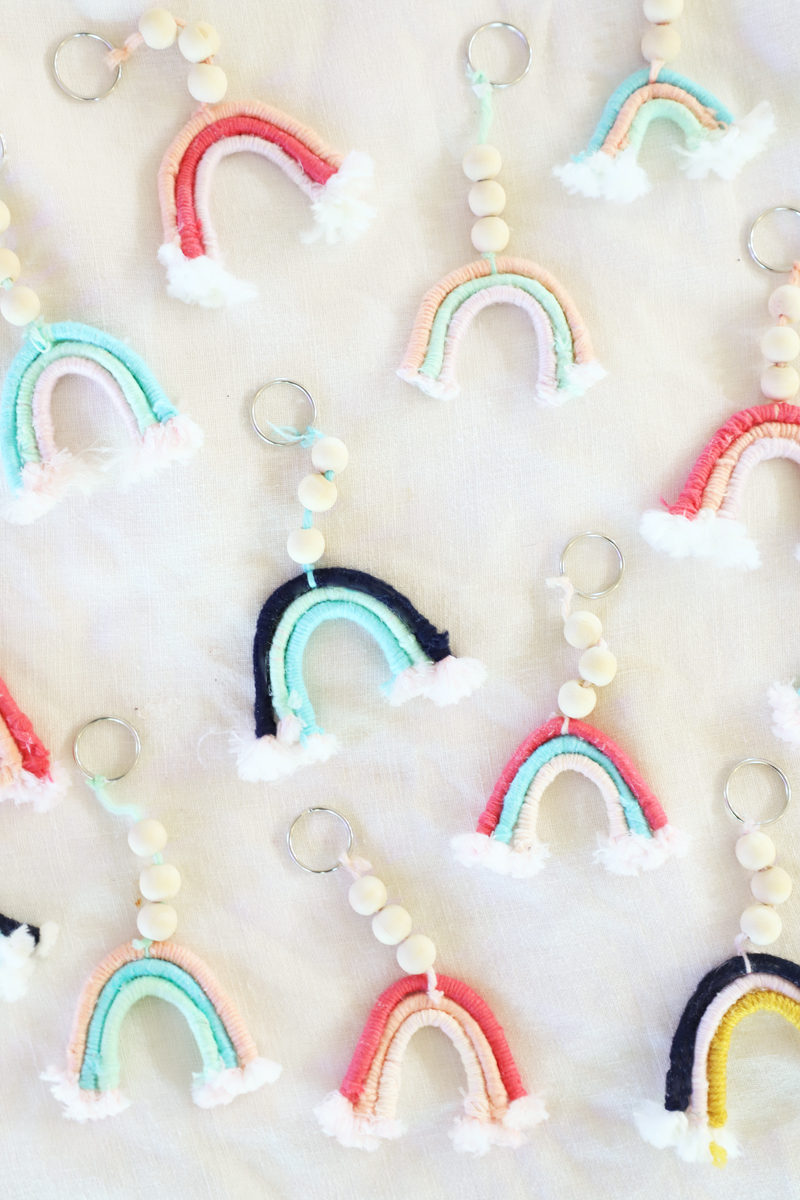 diy rainbow wooden bead keychains